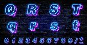 3d Neon Letters Q-t. Neon Blue Font English. City Blue Font. Neon City Color Blue Font. English Alph poster