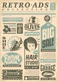 Retro Newspaper Ads Page With Promo Advertisements. Vintage Newsprint  Letterhead. Vector Illustrati poster