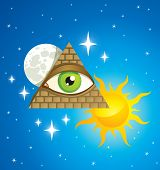 stock photo of freemason  - pyramid with the eye the moon sun and stars - JPG