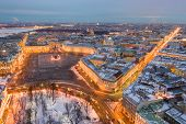 Aerial View Of Palace Square And Alexander Column, The Winter Palace, The Hermitage, Little People W poster