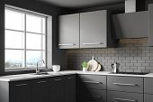 Dark Grey Kitchen Corner With Countertops poster