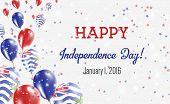 British Indian Ocean Territory Independence Day Greeting Card.. Flying Balloons In British Indian Oc poster
