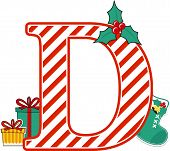 Capital Letter D With Red And White Candy Cane Pattern And Christmas Design Elements Isolated On Whi poster
