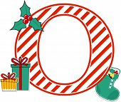 Capital Letter O With Red And White Candy Cane Pattern And Christmas Design Elements Isolated On Whi poster
