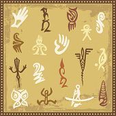 Vector set of Australian aboriginal petroglyph ornaments.
