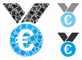 Euro Prize Medal Mosaic Of Uneven Pieces In Different Sizes And Color Tinges, Based On Euro Prize Me poster