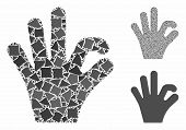 Ok Gesture Mosaic Of Tremulant Pieces In Various Sizes And Shades, Based On Ok Gesture Icon. Vector  poster