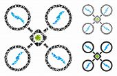 Quadcopter Mosaic Of Inequal Elements In Variable Sizes And Shades, Based On Quadcopter Icon. Vector poster