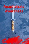 A Conceptual Image Of Nuts In A Syringe, Awareness Brochure Eating Peanuts Can Cause A Severe Allerg poster