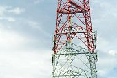 Telecommunication Tower, Tower Pillars And Sky, Telecommunication Tower With Sky Background poster