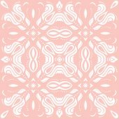 Classic Seamless Pink And White Pattern. Damask Orient Ornament. Classic Vintage Background. Orient  poster