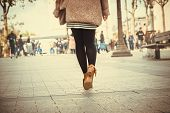 Woman Legs Walk On Street. Woman Legs Walk On Street In Brown Shoes. Woman Legs Back View. Close Up  poster
