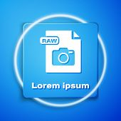 White Raw File Document. Download Raw Button Icon Isolated On Blue Background. Raw File Symbol. Blue poster