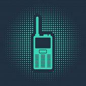 Green Walkie Talkie Icon Isolated On Blue Background. Portable Radio Transmitter Icon. Radio Transce poster