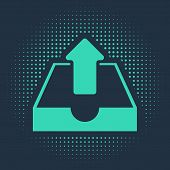 Green Upload Inbox Icon Isolated On Blue Background. Abstract Circle Random Dots. Vector Illustratio poster