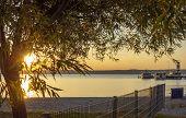 Sundown Scenery At Lake Neusiedl Near Podersdorf Am See In Burgenland In Austria poster