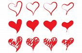 Red Love Heart Vector Shape Icon Hand Drawing Sketch Graphic Element Design Background. Handdrawn Sk poster