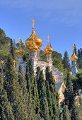 image of church mary magdalene  - The Russian Orthodox church of Mary Magdalene at the mount Olives in Jerusalem Israel - JPG