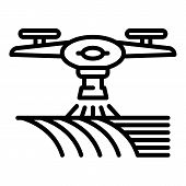 Drone Water Irrigation Icon. Outline Drone Water Irrigation Vector Icon For Web Design Isolated On W poster