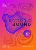 Music Poster. Commercial Show Magazine Design. Dynamic Gradient Shape And Line. Neon Music Poster. E poster