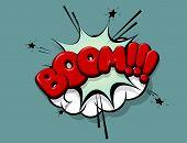 Boom Red Comic Text Speech Bubble Pop Art. Cartoon Halftone Vector Background. Retro Comic Book Font poster