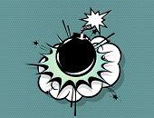 Boom Bomb Retro Comic Text Speech Bubble Pop Art. Cartoon Halftone Vector Background. Vintage Comic  poster