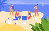 Beach Cleaning. Cleansing Polluted Planet, Ecology Volunteering Activity, People Pick Up Trash On Be poster