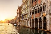 Venice At Sunset, Italy. Ca Doro Palace (golden House) In Foreground. poster