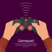Hands Operate The Game Controller. Equipment For Video Games. Digital Entertainment. Concept Of Leis poster
