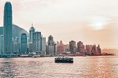 Star Ferry At The Victoria Harbor Of Hk At Sundown poster