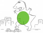 foto of godzilla  - Vector green Godzilla is crushed the car - JPG