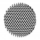 Optical Illusion Sphere. Abstract 3D Black And White Illusions. Vector Illustration. poster