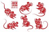 New Year 2020 Rat. Red Rats With Asian Pattern Elements. Chinese Astrological Holiday Symbol For Cre poster