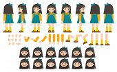 Mascot Creation Kit Of Little Girl For Different Poses . Vector Constructor With Various Views, Emot poster