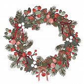 Beautiful Christmas Decorative Wreath Of Pine Branches, Berries, Ilex, Cedar And Pine Cones Over Whi poster