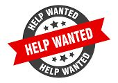 Help Wanted Sign. Help Wanted Black-red Round Ribbon Sticker poster