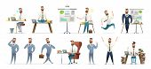 Bearded Charming Business Men In Different Situations And Poses. Manager Character Design. Businessm poster