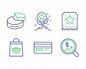 Loyalty Points, Credit Card And Online Buying Line Icons Set. Loyalty Ticket, Pie Chart And Currency poster