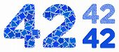 42 Digits Text Mosaic Of Bumpy Items In Different Sizes And Shades, Based On 42 Digits Text Icon. Ve poster