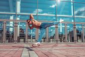 Male Dancer, Muscle Jump In Flight, Dancing Breakdance, In Summer In City, Free Space For Text, Hip- poster