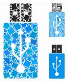 Usb Flash Drive Mosaic Of Tuberous Items In Various Sizes And Color Tones, Based On Usb Flash Drive  poster