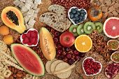 Healthy high fibre food with super foods high in antioxidants, omega 3, vitamins & protein with low  poster