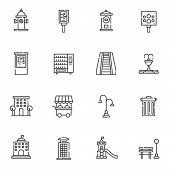 Urban Infrastructure Line Icons Set. Linear Style Symbols Collection, Outline Signs Pack. Vector Gra poster