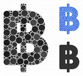 Thai Baht Mosaic Of Small Circles In Variable Sizes And Shades, Based On Thai Baht Icon. Vector Smal poster