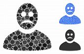 Sad Person Mosaic Of Round Dots In Variable Sizes And Color Hues, Based On Sad Person Icon. Vector D poster
