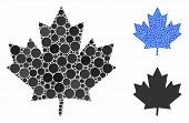 Maple Leaf Mosaic Of Round Dots In Variable Sizes And Color Hues, Based On Maple Leaf Icon. Vector R poster