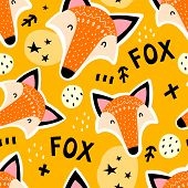 Seamless Pattern With Cartoon Foxes, Lettering, Stars, Decor Elements On A Neutral Background. Vecto poster