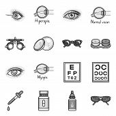 Vector Illustration Of Vision And Correction Icon. Set Of Vision And Optometry Vector Icon For Stock poster
