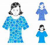 Female Composition Of Filled Circles In Variable Sizes And Color Tints, Based On Female Icon. Vector poster