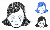 Crying Woman Face Mosaic Of Small Circles In Variable Sizes And Color Tints, Based On Crying Woman F poster